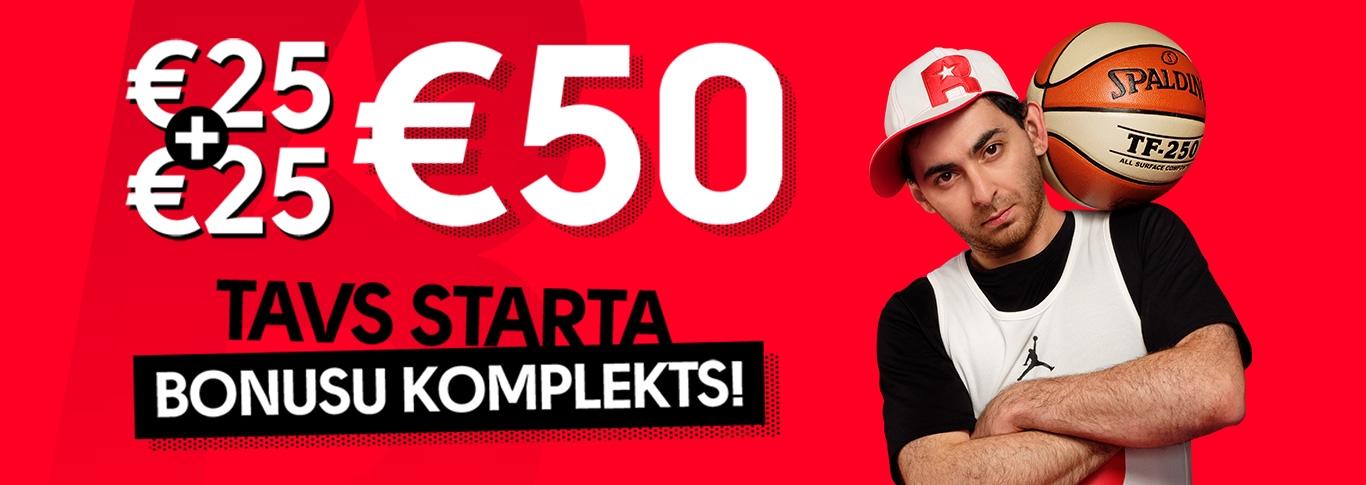€25 + €25 drošās sporta likmes